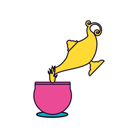 tea cup and teapot drink icon vector illustration design