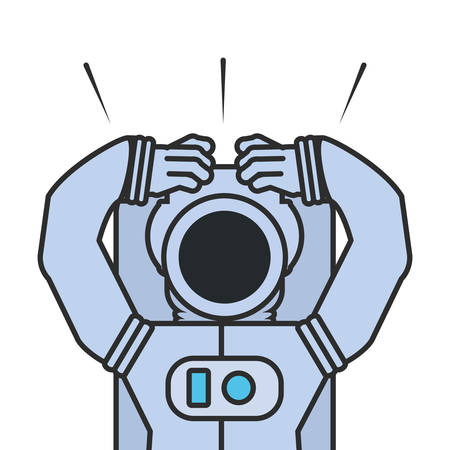 astronaut suit with hands up isolated icon vector illustration design Çizim