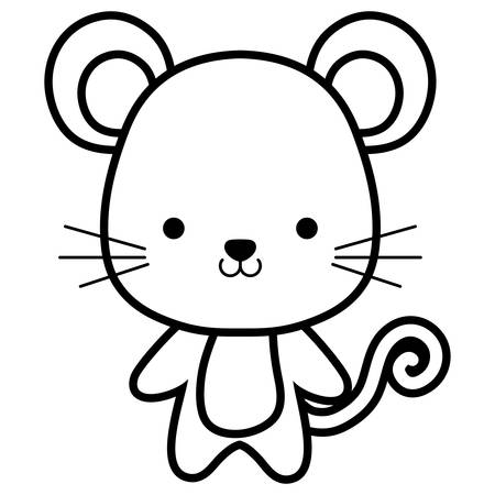 cute and little mouse character vector illustration design