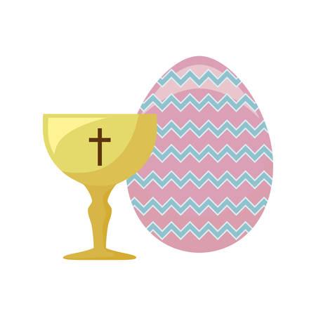 chalice sacred with egg of easter vector illustration design