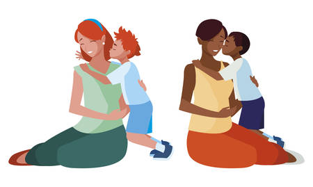 interracial mothers with little kids characters vector illustration design 일러스트