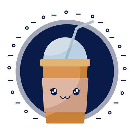 delicious milkshake kawaii character vector illustration design