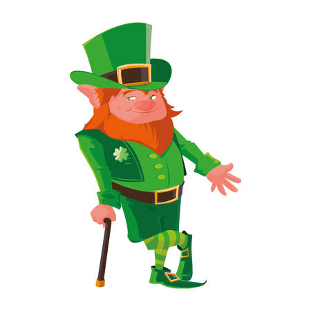 saint patrick lemprechaun with cane character vector illustration design