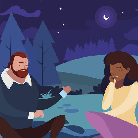 interracial young couple seated in the field at night vector illustration design