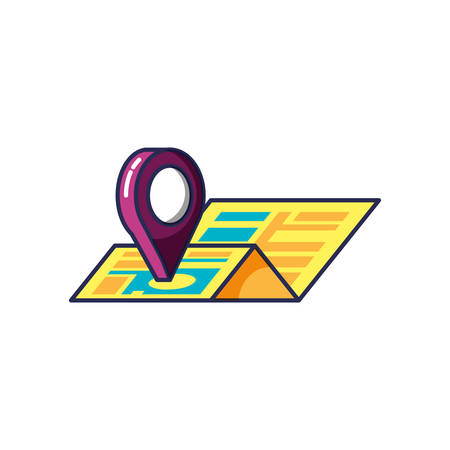 map guide with pin pointer location vector illustration design