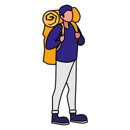 adventurous man with travelbag vector illustration design Banque d'images - 125335819