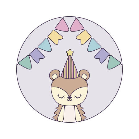 cute porcupine with hat party in frame circular vector illustration design Ilustracja