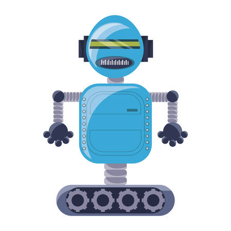 cartoon robot icon over white background colorful design vector illustration Иллюстрация