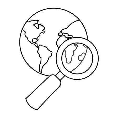 world magnifier analysis  cyber security vector illustration outline