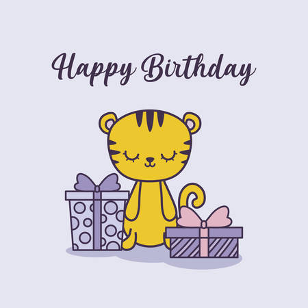 happy birthday card with tiger and gift boxes vector illustration design Ilustracja