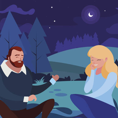young couple seated in the field at night vector illustration design