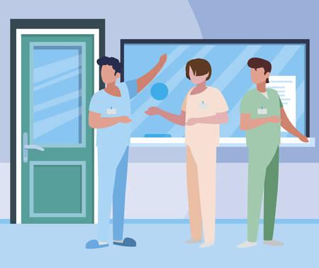 male medicine workers in hospital reception vector illustration design Illustration