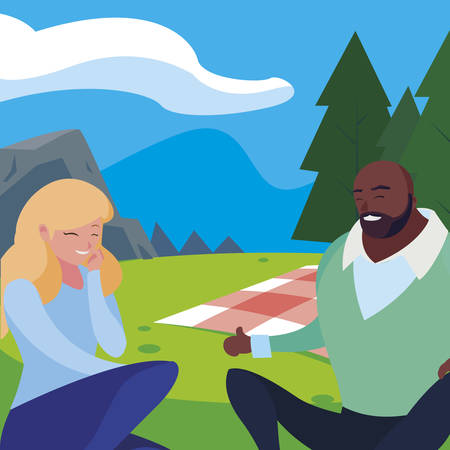 interracial young couple seated in the field picnic day vector illustration design