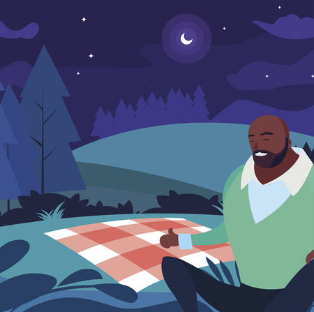 black strong and bearded man in the field picnic day vector illustration design