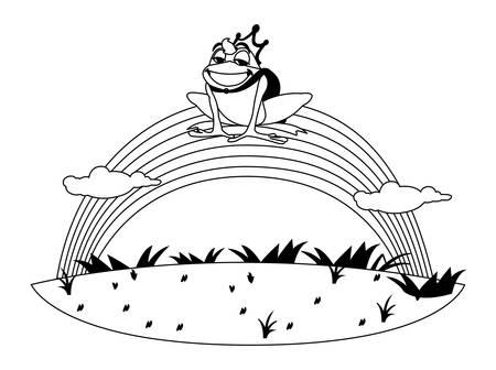 toad prince with rainbow fairytale character vector illustration design Ilustracja