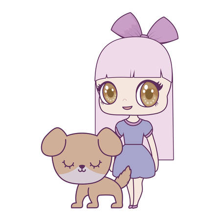 cute little doll with dog animal vector illustration design