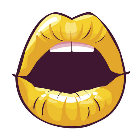 sexy female lips pop art style vector illustration design