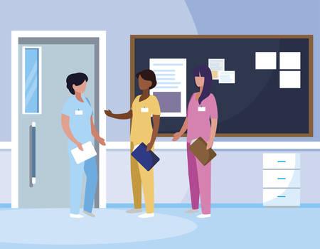 interracial female medicine workers in hospital corridor vector illustration design Ilustração