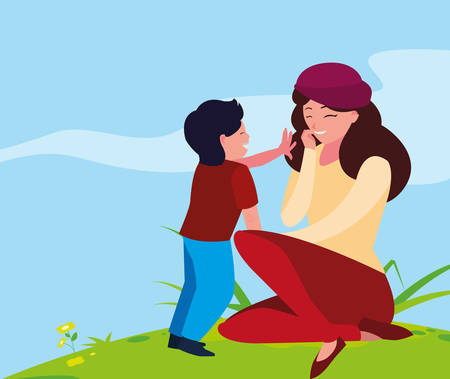 beautiful mother with son in the landscape vector illustration design Illustration