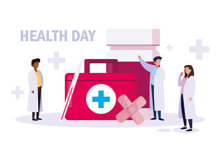 world health day card with doctors group and icons vector illustration design