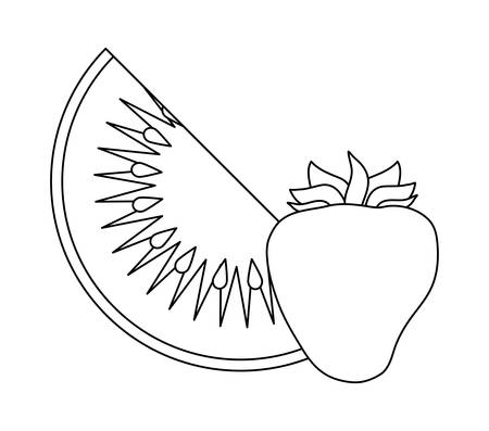 healthy strawberry with slice kiwi fruits vector illustration design