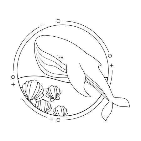 cute whale with sea in frame circular vector illustration design Vektorgrafik
