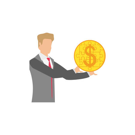 businessman with puzzle pieces in shape coin vector illustration design Illustration