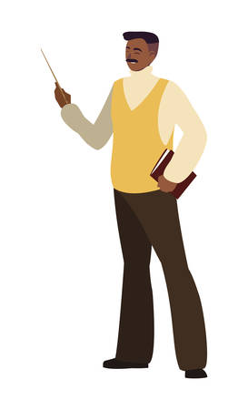black teacher male avatar character vector illustration design