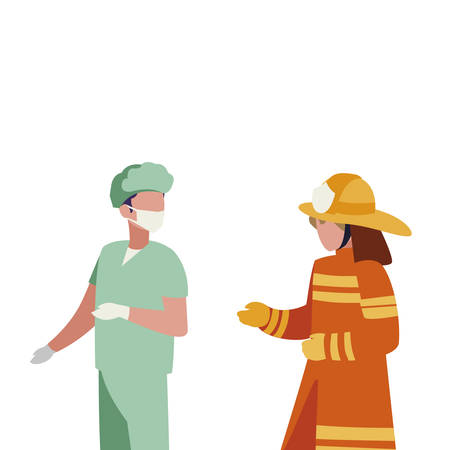 couple of professional workers characters vector illustration design Foto de archivo - 125621594