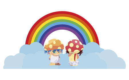 fungus elf with rainbow magic characters vector illustration design Illustration