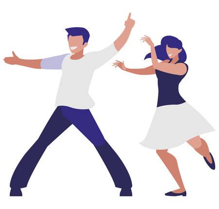 pareja joven, bailando, caracteres, vector, ilustración, diseño