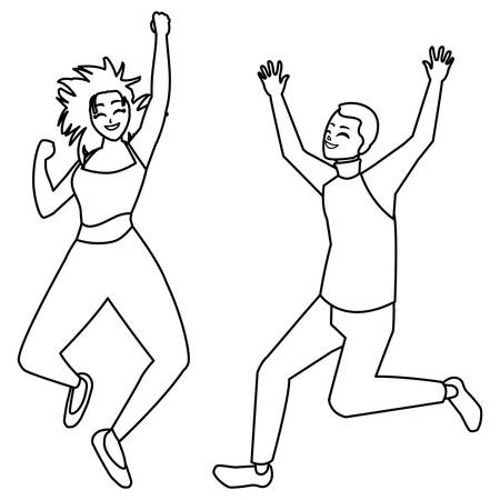 happy young couple celebrating characters vector illustration design Vectores