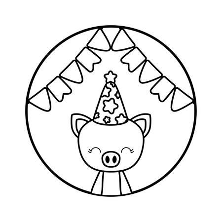 cute piggy with hat party in frame circular vector illustration design