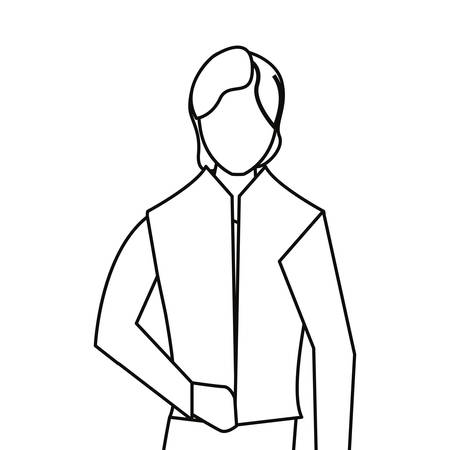 man portrait line on white background vector illustration