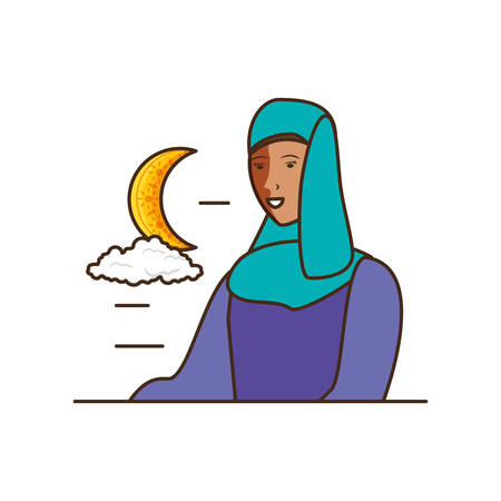 islamic woman with moon character vector illustration design