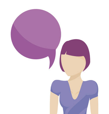 young woman with speech bubble vector illustration design