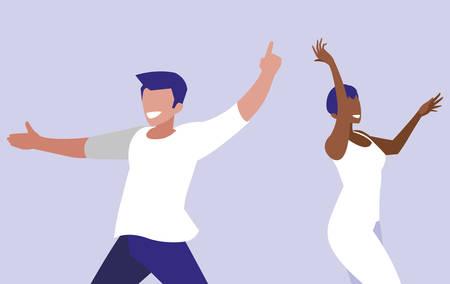 young interracial couple dancing characters vector illustration design Vectores