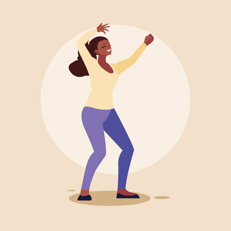 young afro woman happy celebrating with hands up vector illustration design