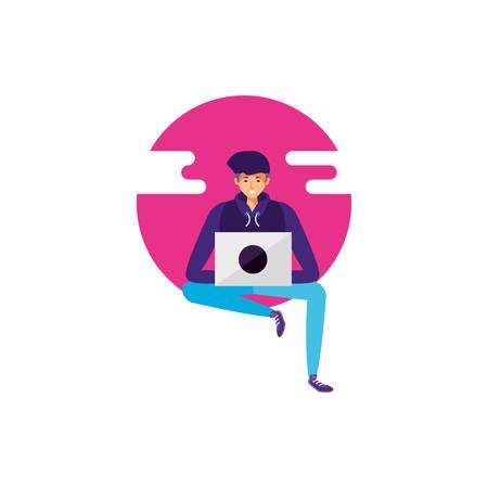 young man using laptop computer vector illustration design Illustration
