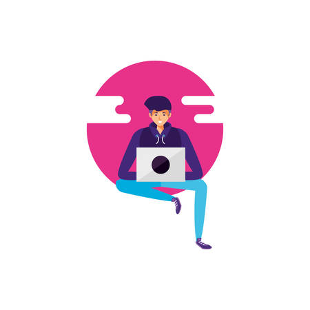 young man using laptop computer vector illustration design Çizim
