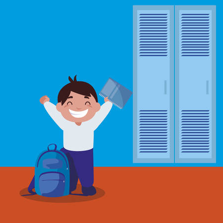 little schoolboy with schoolbag in school corridor vector illustration design