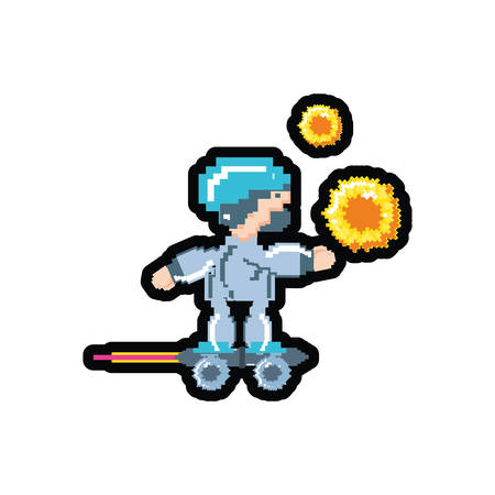 video game avatar pixelated with skateboard vector illustration design