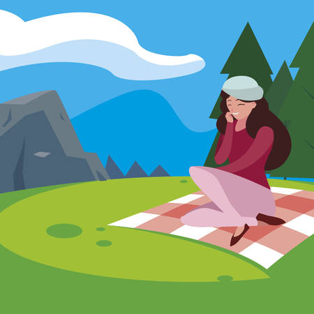 woman with beret seated in the park picnic day vector illustration design Vectores
