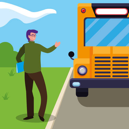 teacher male with documents in stop bus vector illustration design Ilustracja
