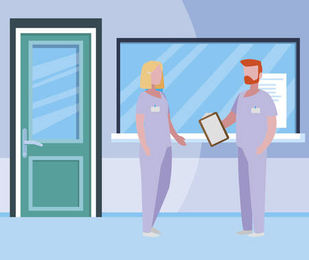 couple medicine workers in hospital reception vector illustration design