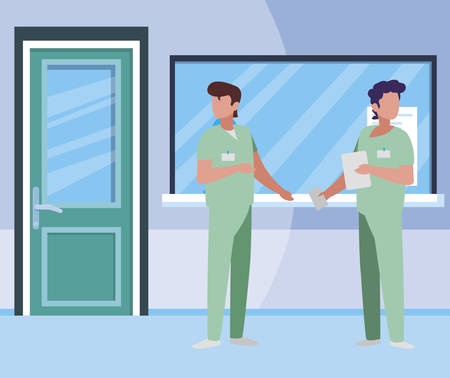 male medicine workers in hospital reception vector illustration design