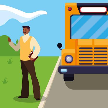 black teacher male in stop bus vector illustration design