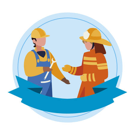 couple of professional workers with ribbon frame vector illustration design 免版税图像 - 126197187