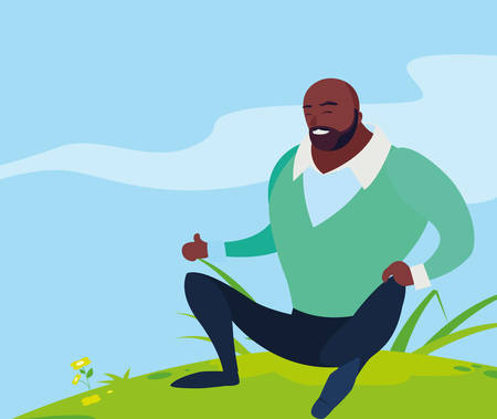black strong and bearded man seated in the field seated vector illustration design
