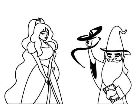 beautiful princess with wizard of tales characters vector illustration design 向量圖像